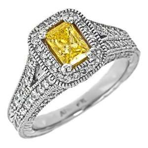 Gold Canary Yellow 1 3/4 Carats Princess Cut Diamond Engagement Ring