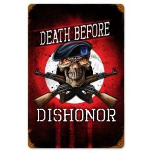 Death Before Dishonor Vintaged Metal Sign: Home & Kitchen