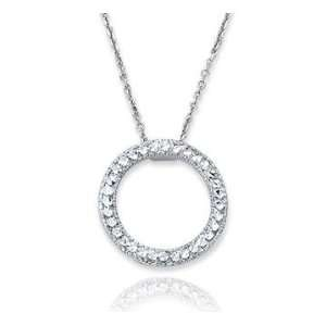 14k White Gold Circle Pendant Necklace Jewelry