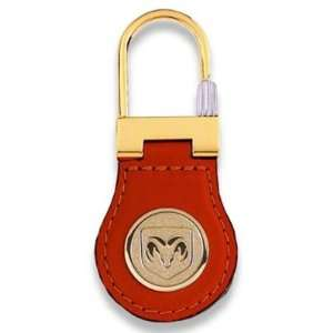 800513 Brown Leather Key Chain with Dodge Ram Head Logo Automotive