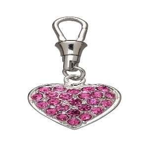 Pink Heart Rhinestone Dog Collar Charm