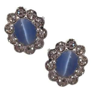 Adorlee Silver Blue Crystal Clip On Earrings Jewelry