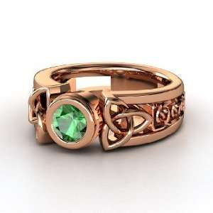 Celtic Sun Ring, Round Emerald 14K Rose Gold Ring Jewelry