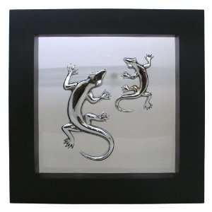 Bronze~Framed Geckos Sculpture~Wall Decor~New Art