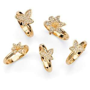 14k Gold Plated Set of Crystal Butterfly and Flower Rings Jewelry