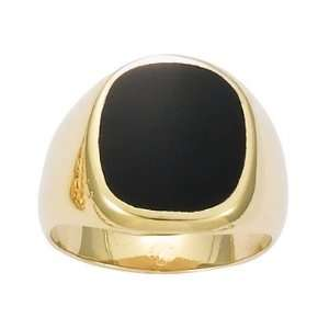 18K Gold Plated Black Onyx Signet Ring   Size 7.5 Jewelry