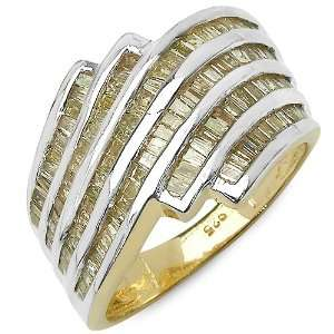 39 Carat 14K Gold Plated Genuine Diamond Accents Sterling Silver Ring