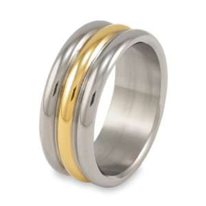 Gold Plated Polished Rounded Titanium Ring (8.8 mm)   Size