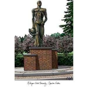 State University Spartan Statue Lithograph Print
