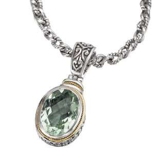 925 Silver & Green Amethyst Oval Checkerboard Pendant with