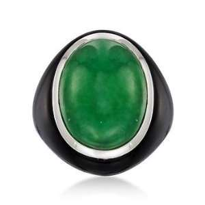 Green Jade and Black Onyx Ring In Sterling Silver Jewelry