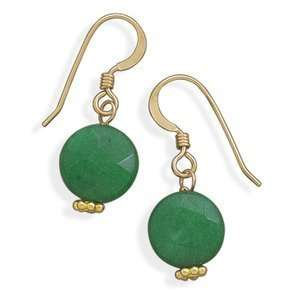 Green Jade 14K Yellow Gold Fill Earrings Faceted with Bead Jewelry