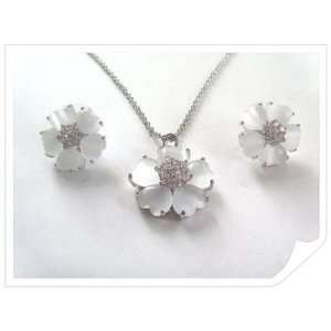 Heart shape Flower White CZ Necklace Earring Set