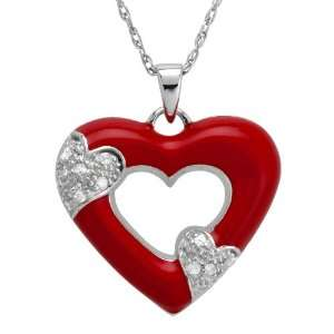 Silver Red Enamel Heart Shape Diamond Accent Pendant, 18 Jewelry