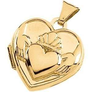 14K Yellow Gold Claddagh Heart Shaped Locket DivaDiamonds Jewelry