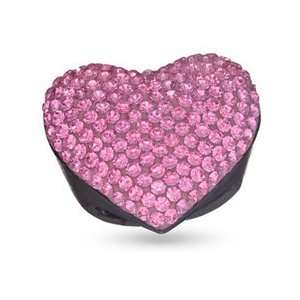 Pink Crystal Heart Shaped Wood Ring   Size 8 SS LINK Jewelry