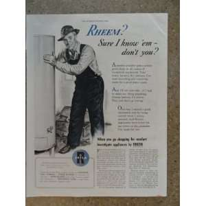 rheem water heaters, Vintage 40s full page print ad. (man