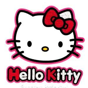 Hello Kitty w red bow and pink outline Iron On Transfer for T Shirt