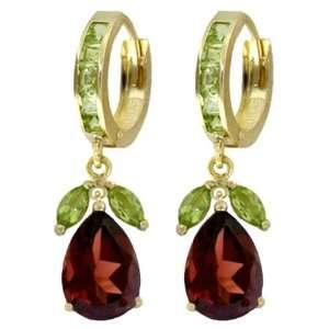 14k Gold Hoop Huggie Earrings with Genuine Peridots & Garnets Jewelry