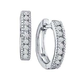 10k White Gold Round Cut Diamond Hoop Huggie Milgrain Style Earrings