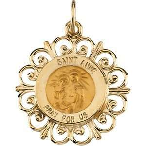 14K Yellow Gold 18.5 Rd St Anne Pend Medal Jewelry