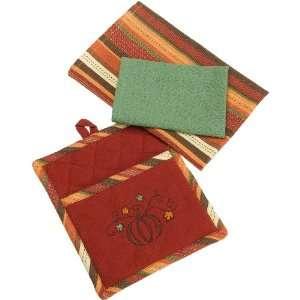 DII Harvest Pumpkin Embroidery Pot Mitt Gift Set: Home