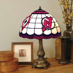 Stained Glass TIFFANY TABLE LAMP with a Cast Metal Base Sports