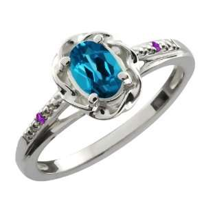 0.56 Ct Oval London Blue Topaz Purple Amethyst Sterling