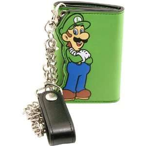 Super Mario Luigi Green Tri Fold Wallet with Chain