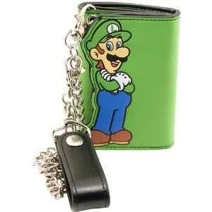 Super Mario Luigi Green Tri Fold Wallet with Chain