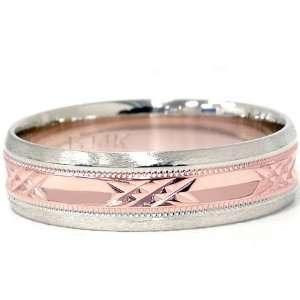 Mens 14K Rose & White Gold 6MM Diamond Cut Wedding Ring Unique Fancy