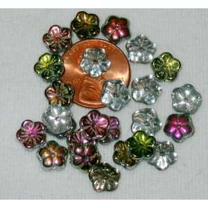 Flower Czech Glass Beads   25pc Crystal Vitral Arts, Crafts & Sewing