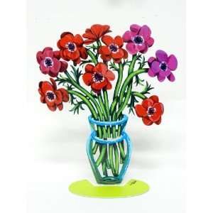 By David Gerstein Modern Metal ART Sculpture Poppies Flower Vase