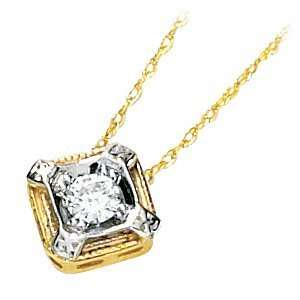 1/6 CT TW Moissanite Necklace/14kt two tone gold Jewelry