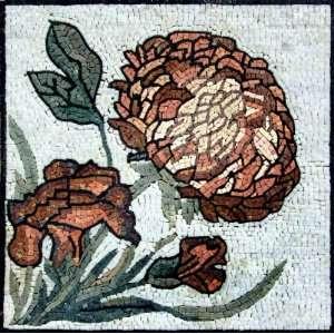 24x24 Flower Mosaic Art Tile Mural Wall Decor