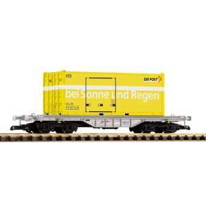 VI FLAT CAR WITH POST CONTAINER   PIKO G SCALE MODEL TRAIN CARS 37715