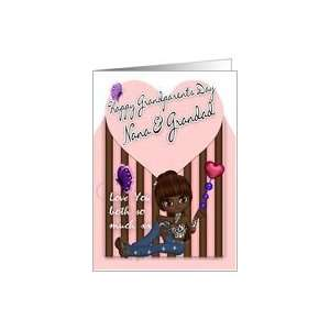 Nana & Grandad, Grandparents Day   Cute Little Girl Card