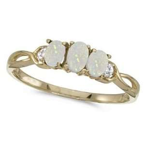 Oval Opal and Diamond Three Stone Ring 14k Yellow Gold (0