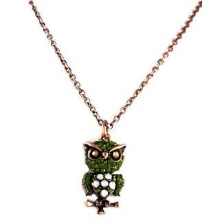 Crystal Stud Owl Face White Gold Plated Pendant Necklace Jewelry