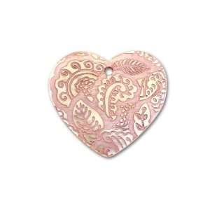 Mother of Pearl Heart Pendant   Purple Paisley Arts