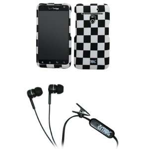White Checkers Rubberized Design Hard Case Cover + Stereo Hands Free