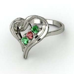 Mothers Heart Ring, Round Red Garnet Platinum Ring with