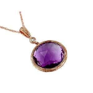 Ladies Diamond & Amethyst Necklace in Rose Gold (TCW 8.83). Jewelry
