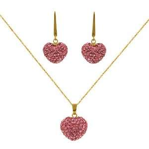 Yellow Gold Light Rose Heart Crystal Pendant and Earrings Set Jewelry