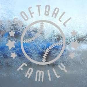 Softball Family Gray Decal Car Truck Bumper Window Gray