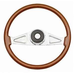 International Wood Steering Wheel Chrome Spokes Tilt Automotive
