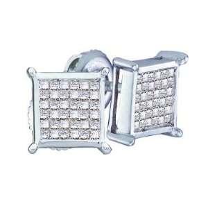 Gold Princess Square Cut Channel Set Diamond Stud Earrings (1/2 cttw
