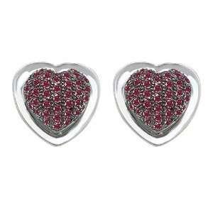 Original Star K(tm) Heart Shape Love Earrings with Lab Created Ruby in