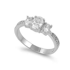 Sterling Silver Three (3) stone Ring   Clear CZ  Size 7