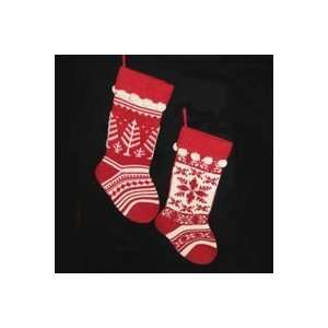 White Knit Tree and Snowflake Christmas Stockings 17